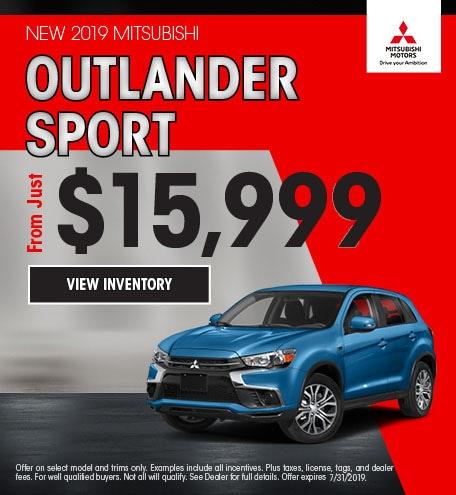 New 2019 Mitsubishi Outlander Sport Offer