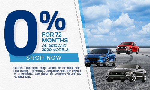 0% for 72 months on 2019 & 2020 Models