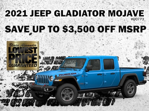 Save up to $3,500 Off MSRP on a New 2021 Jeep Gladiator