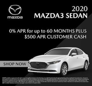 Financing Offer : $500 cash back and 0.0% APR for 60 months on select Mazda Mazda3 models