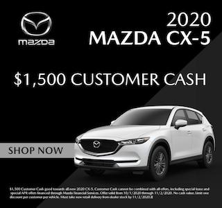 $1,500 cash back on select 2020 Mazda Mazda CX-5