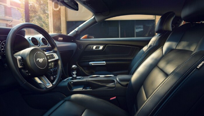 The comfortable interior of the 2019 Ford Mustang
