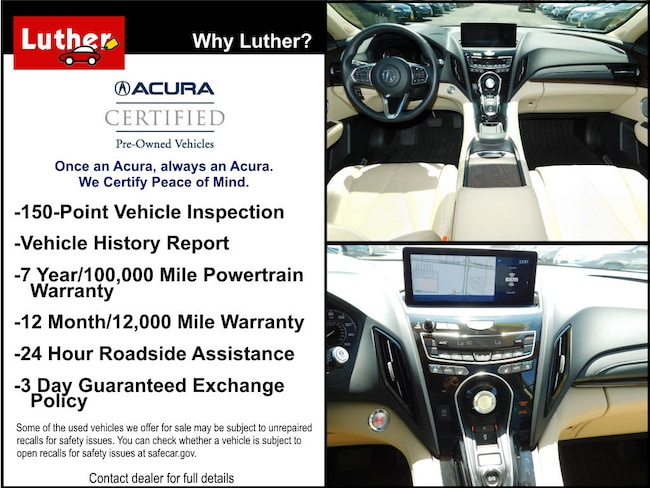 Acura Roadside Assistance >> Used 2019 Acura Rdx For Sale At Luther Automotive Vin