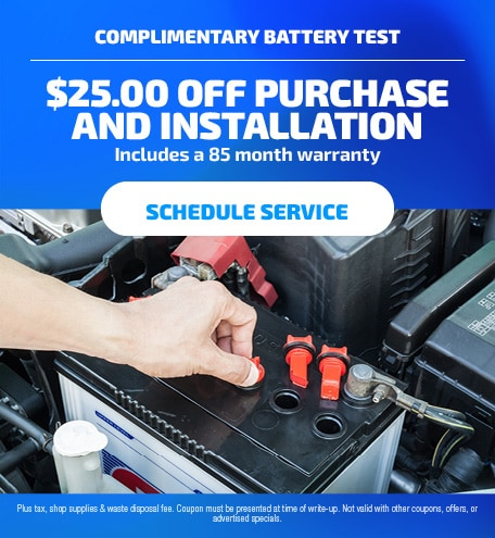 Complimentary Battery Test. Includes a 85 month warranty