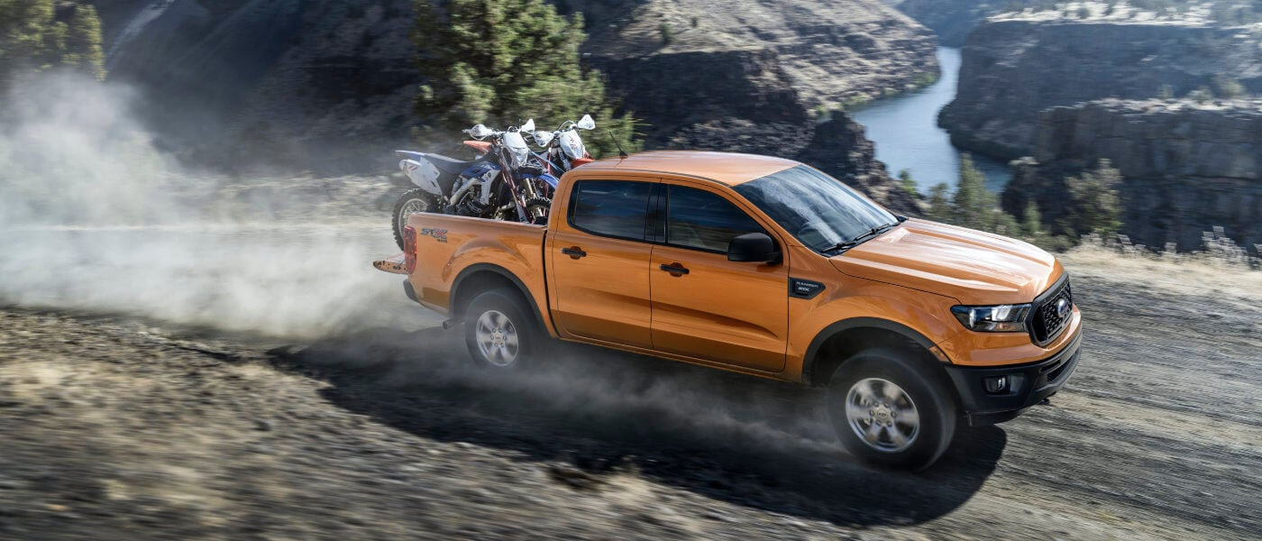 2019 Ford Ranger exterior with ATVs on canyon road