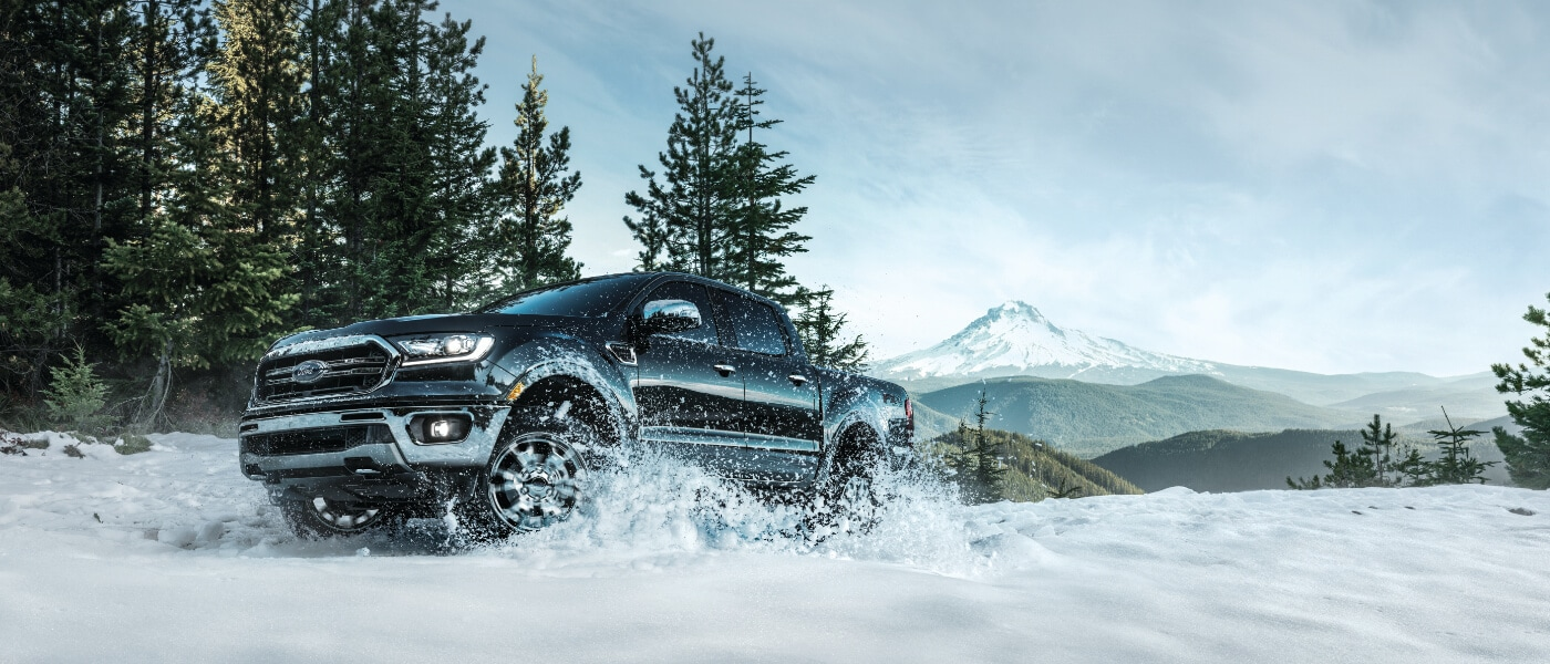 2019 Ford Ranger driving in snow