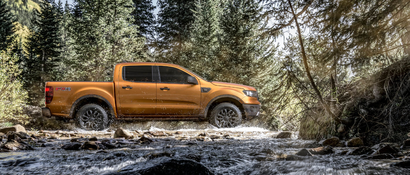 2019 Ford Ranger exterior driving in forest stream