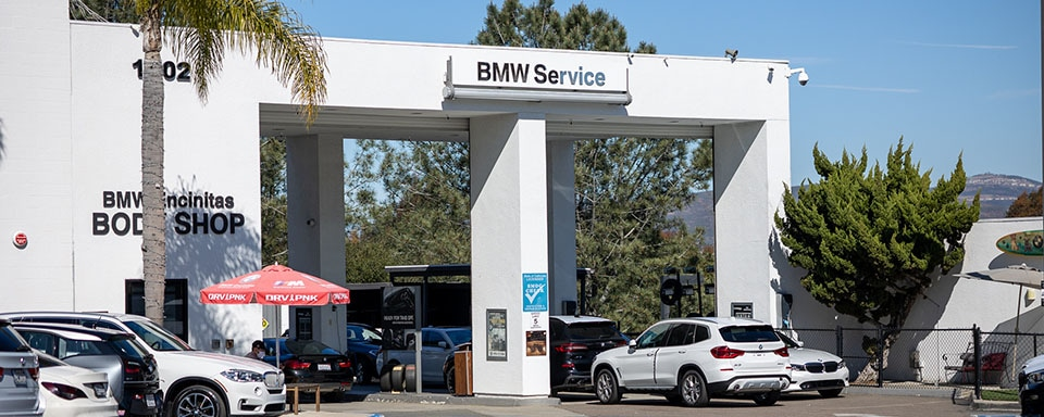 Exterior view of service center and body shop at BMW Encinitas