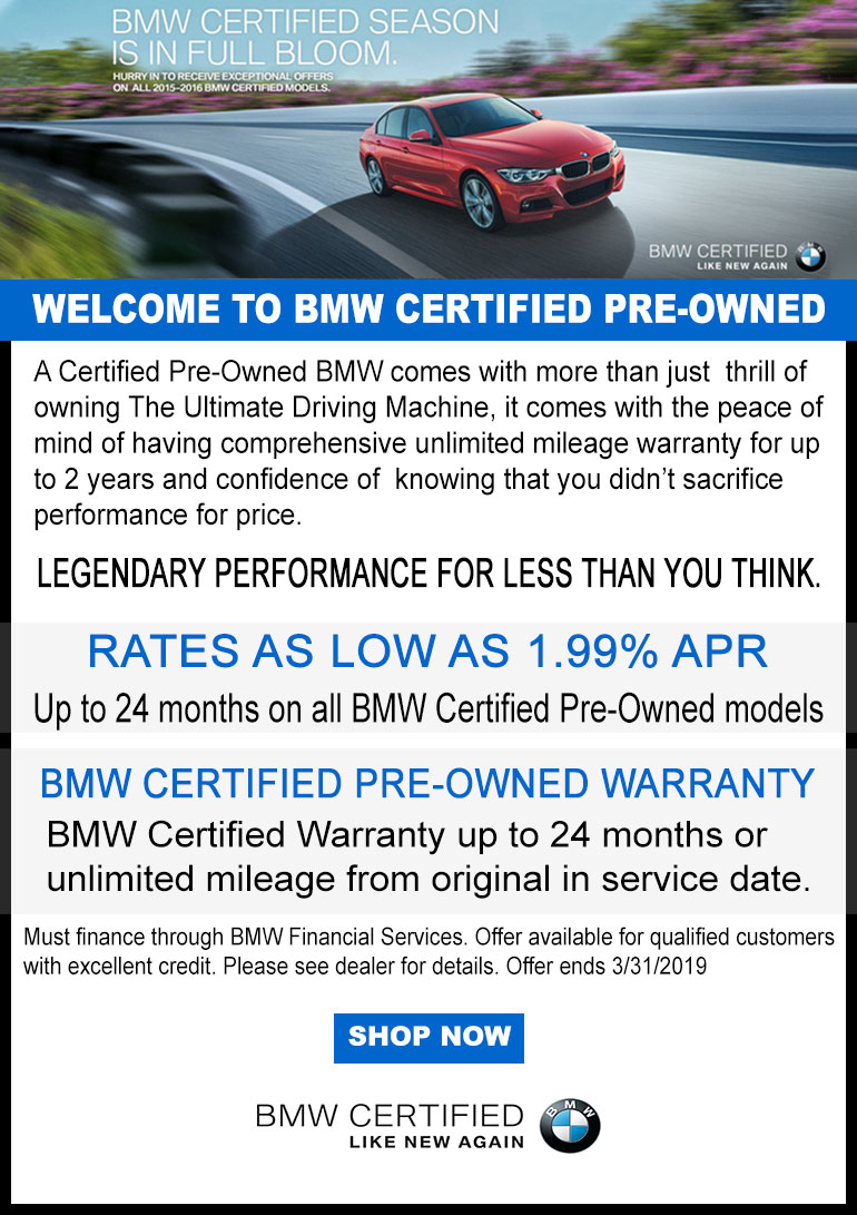 Bmw Certified Pre Owned Warranty >> Certified Pre Owned Vehicle Specials Bmw Of Bakersfield