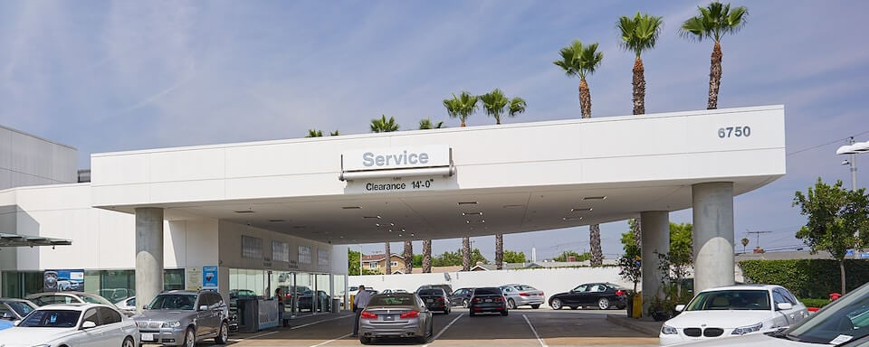 Exterior view of service center entrance at BMW of Buena Park