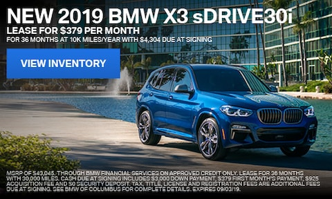 2019 BMW X3 sDRIVE30i August Offer