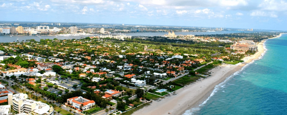 Aerial view looking over Palm Beach