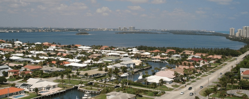 Aerial view looking over Riviera Beach