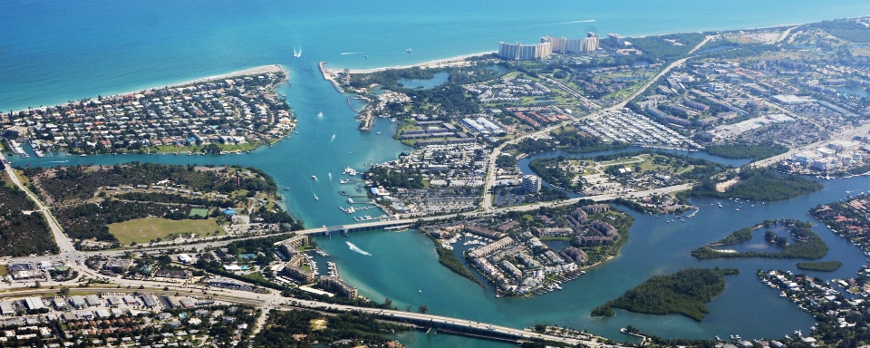Aerial view of Jupiter, Florida