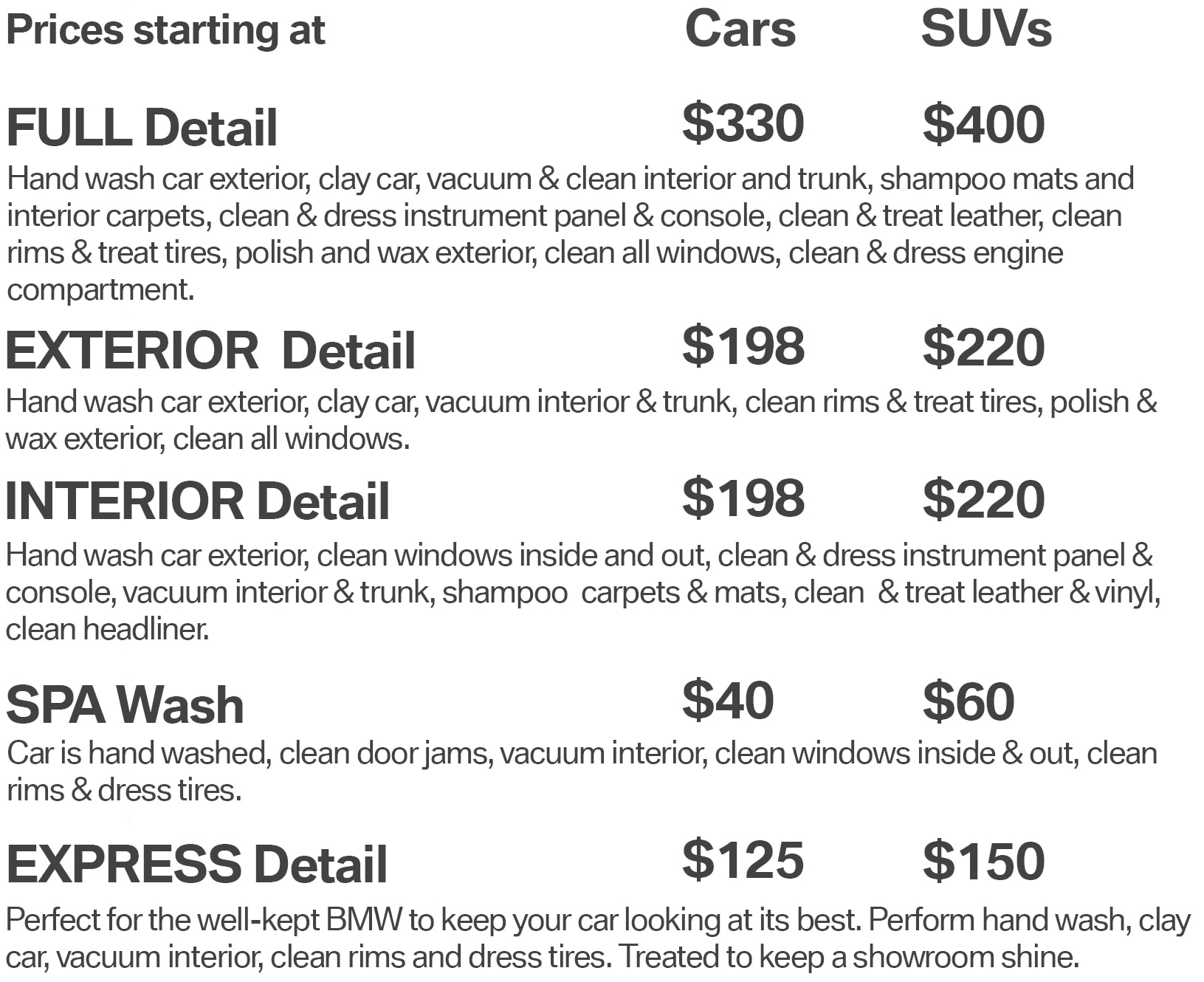 Car Detailing Prices >> Bmw Car Wash Detailing Center In Honolulu Hawaii