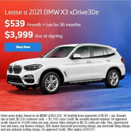 Lease a 2021 BMW X3 xDrive30e
