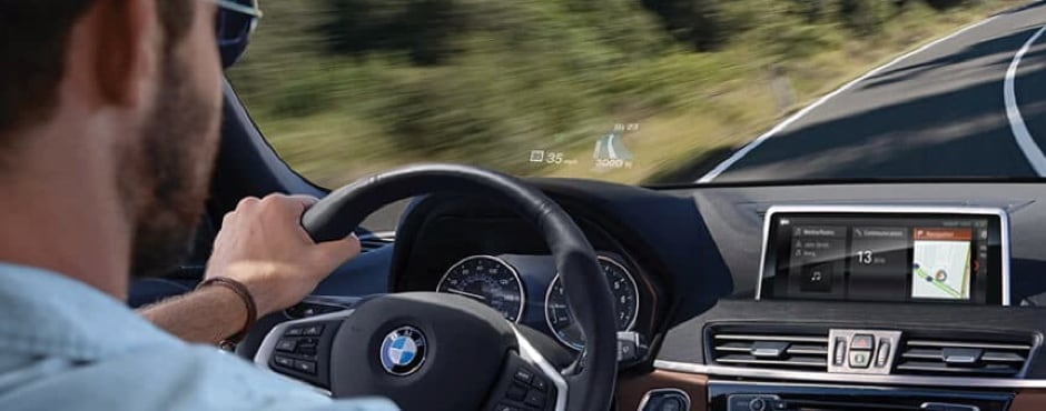 2018 BMW X1 interior driving with heads up display