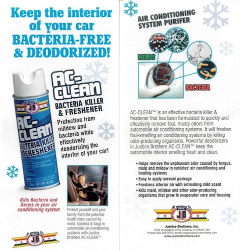 Anti-bacterial/disinfection of all heating/ac vents in vehicle