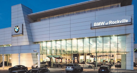 BMW of Rockville is a car dealership near Glen Echo MD | BMW of Rockville dealership building exterior at night