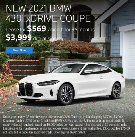 New 2021 BMW 430i xDRIVE Coupe Lease for $569 per month for 36 months