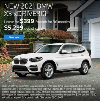 New 2021 BMW X3 xDRIVE30i Lease for $399 per month for 36 months