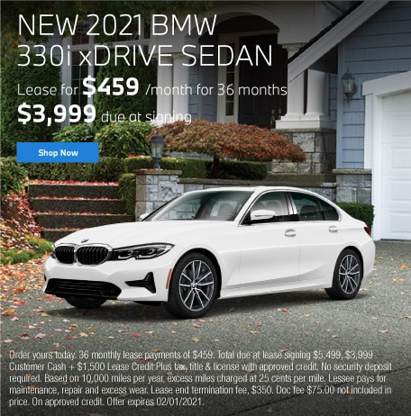 New 2021 BMW 330i xDRIVE Sedan Lease for $459 for 36 months