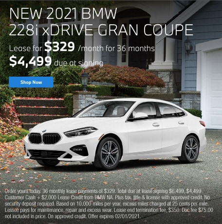 new 2021 BMW 228i xDRIVE Gran Coupe Lease for $329 per month for 36 months