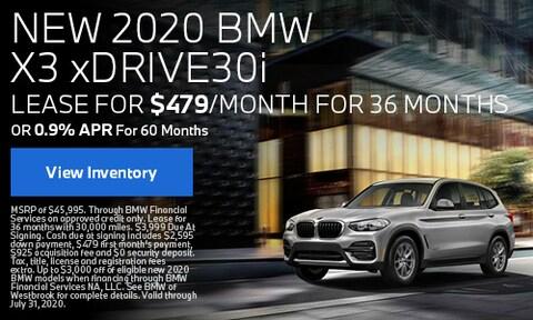 New 2020 BMW X3 xDrive30 - July
