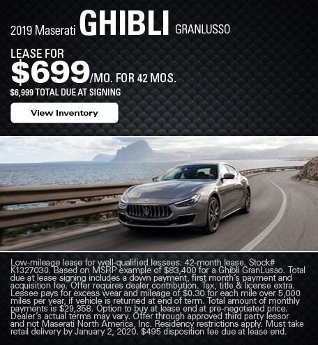 Maserati Ghibli GranLusso Lease Offer