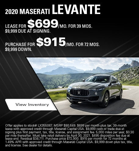 Maserati Levante Lease & Purchase Special Offer