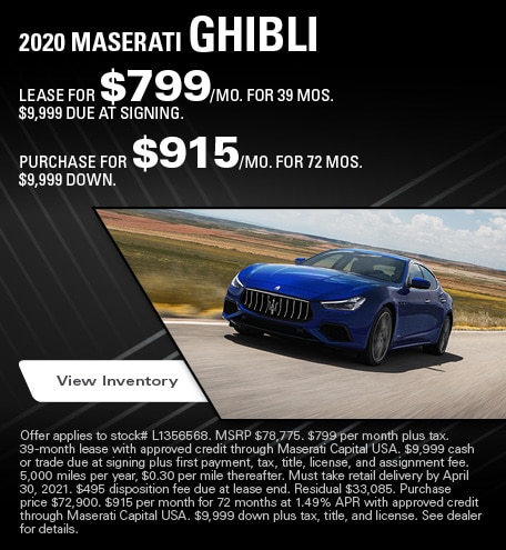 Maserati Ghibli Lease & Purchase Special Offer