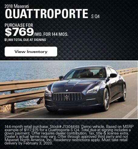 Maserati Quattroporte S Q4 Purchase Offer