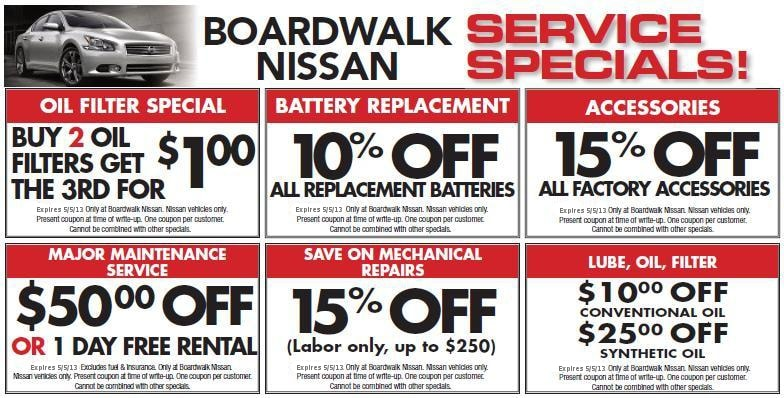 auto service specials in redwood city from boardwalk nissan. Black Bedroom Furniture Sets. Home Design Ideas
