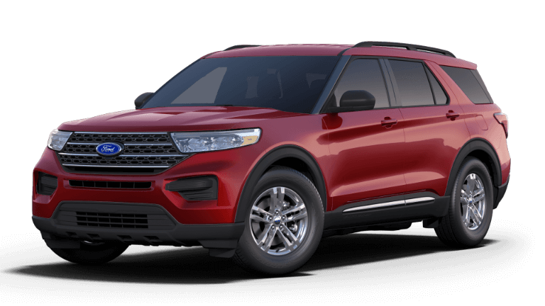 A red 2020 Ford Explorer XLT