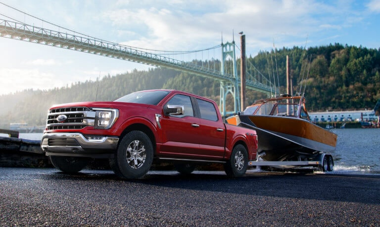 2021 Ford F-150 exterior towing boat out of water