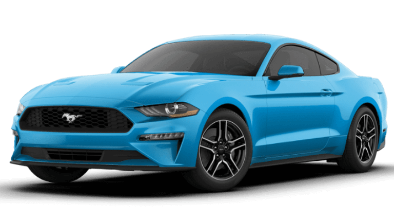 A blue 2020 Ford Mustang EcoBoost Premium Fastback