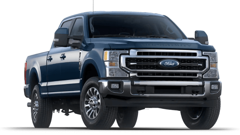 A blue 2020 Ford F-250