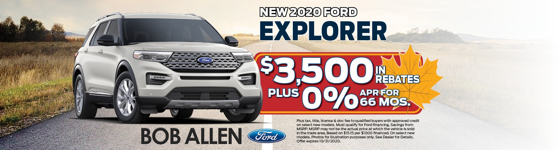 2020 Ford Eplorer | $3,500 in rebates + 0% APR after 66 Mos. | Overland Park, KS