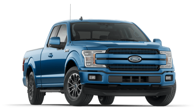 A blue 2020 Ford F-150 Lariat
