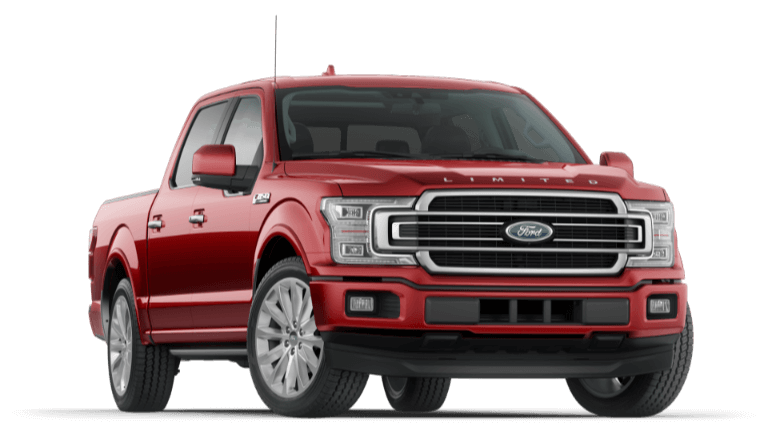 A red 2020 Ford F-150 Limited