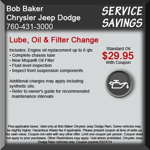Dodge Dealership San Diego >> Auto Service Specials & Deals at Bob Baker Chrysler Jeep ...