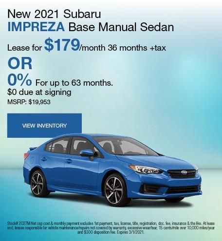New 2021 Subaru Impreza Base Manual Sedan