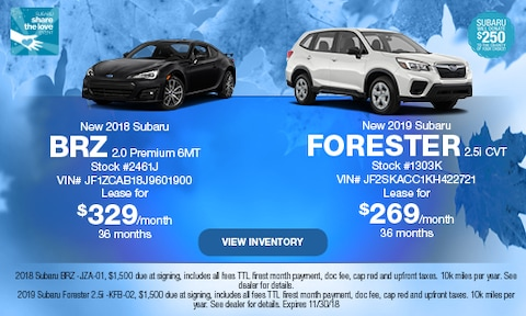 New 2018 Subaru BRZ and New 2019 Subaru Forester
