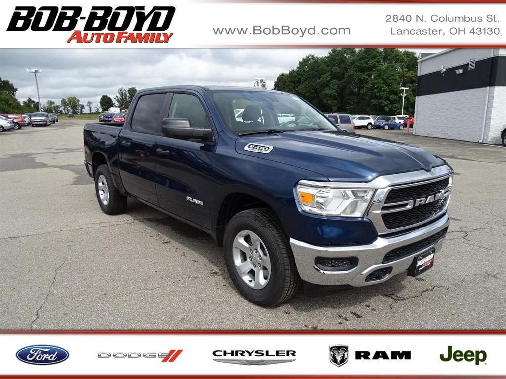 Featured New 2019 Ram All-New 1500 TRADESMAN CREW CAB 4X4 5'7 BOX Crew Cab 1C6SRFGT4KN615309 for sale in Lancaster, OH