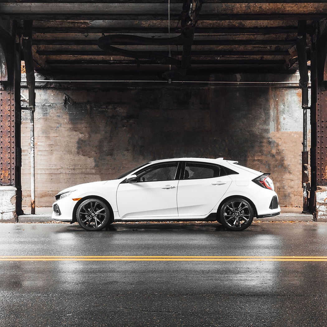 The White 2018 Civic Hatchback, available at Bobby Rahal Honda today