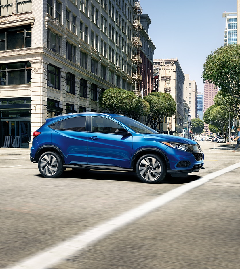 Blue Honda HR-V Driving through the streets of Mechanicsburg, PA