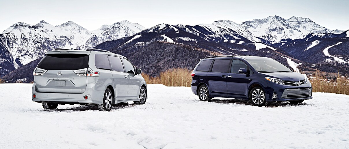 Two 2019 Sienna's in the snow on a mountain