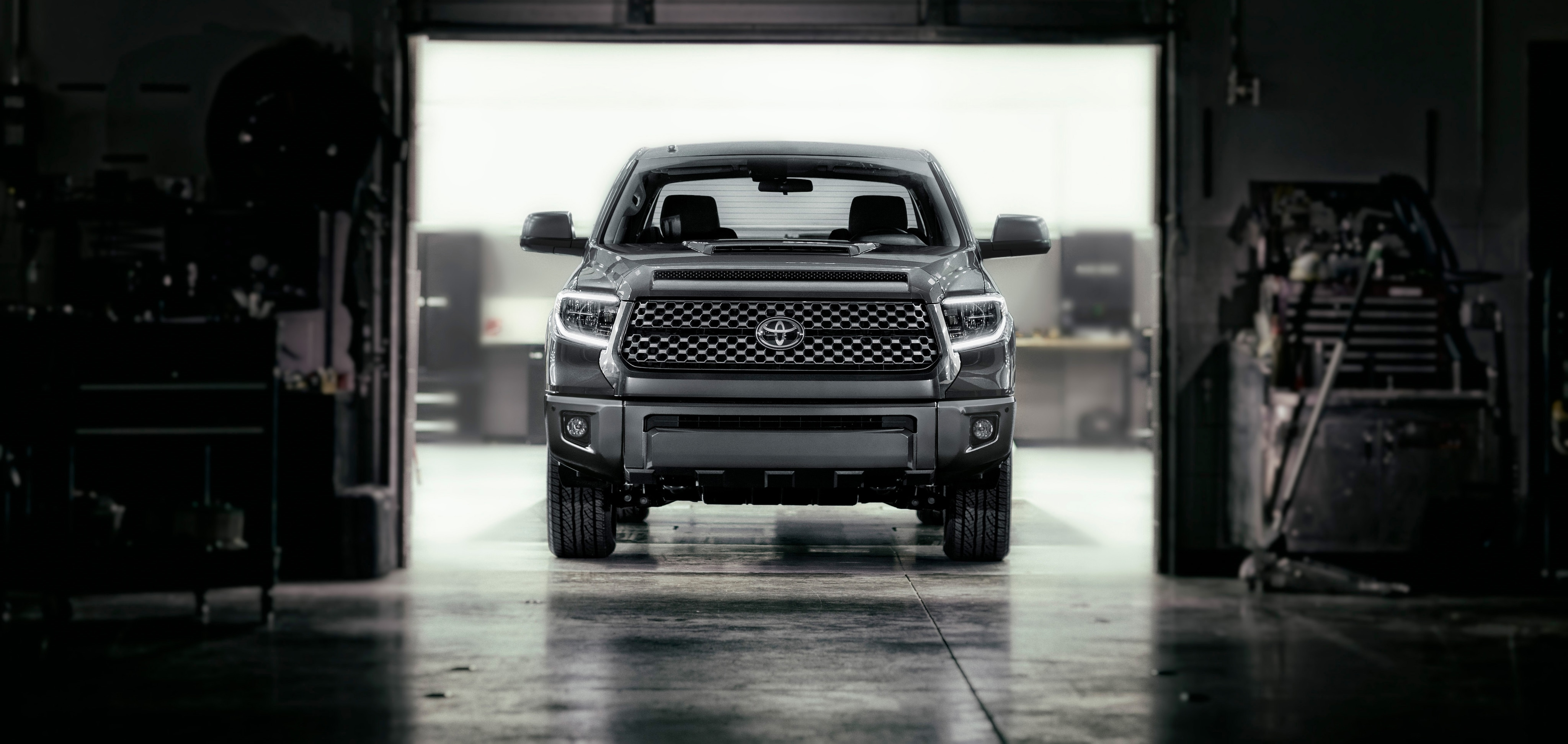 2018 Toyota Tundra driving out of garage