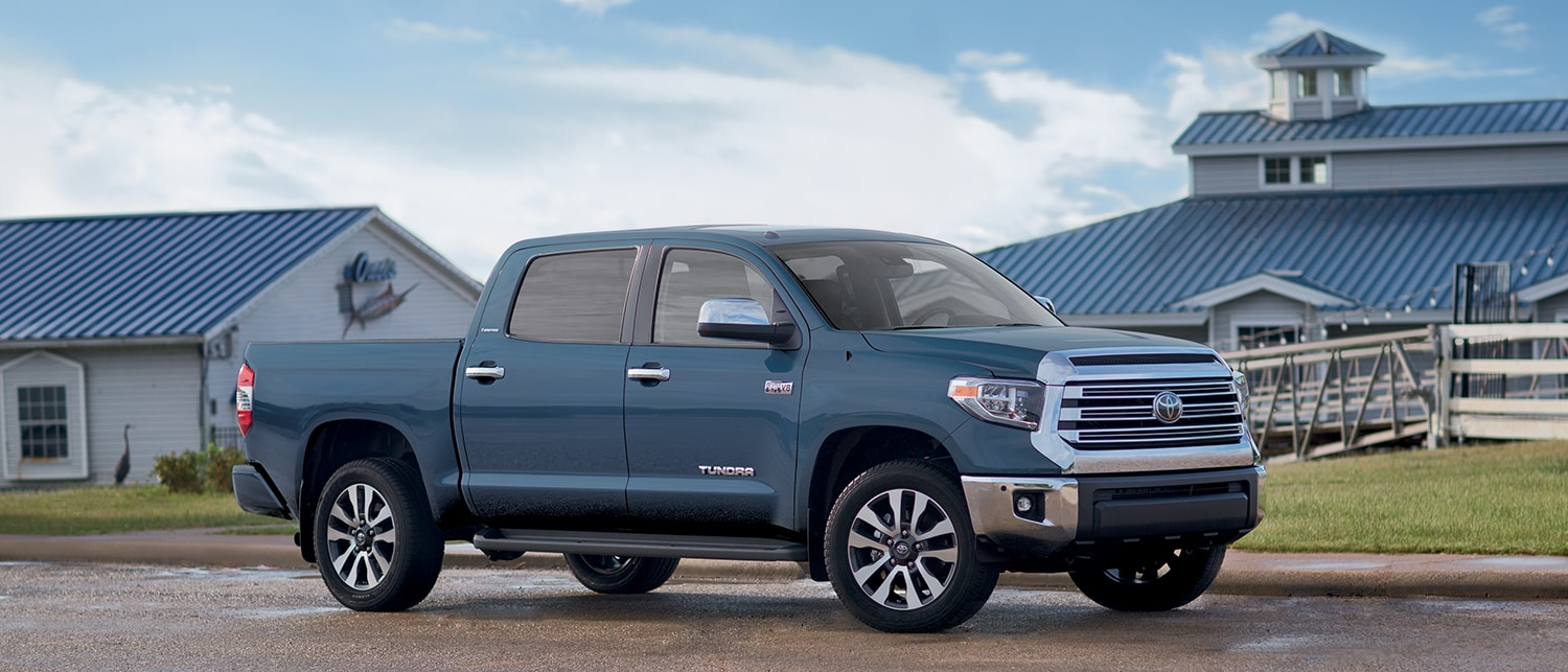 Blue 2019 Tundra in front of a farm