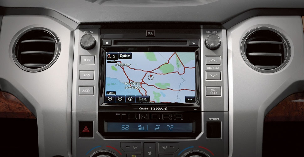 GPS navigation and infotainment system in the 2018 Tundra